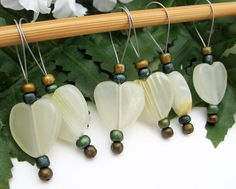 Knitting Stitch Markers Snag Free Agate Hearts by yarnyoda on Etsy, $18.00