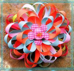 Ribbon Hair Flower Bows Clippies