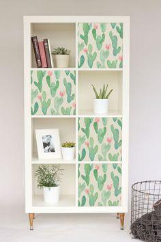 Kallax / Expedit, IKEA, Cactus, Pastel, Nursery, Ikea Hack, Furniture decal, Repositionable, Covering, Color, DIY, Decoration Adhesive #3KA