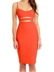 Sexy Spaghetti Strap Low-Cut Solid Color Hollow Out Sleeveless Dress For Women
