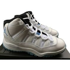 Pre-owned Nike 11 Retro Legend Blue Size 1.5y Athletic Shoes ($139) ❤ liked on Polyvore featuring shoes, nike footwear, sporting shoes, sports shoes, retro style shoes and blue patent shoes
