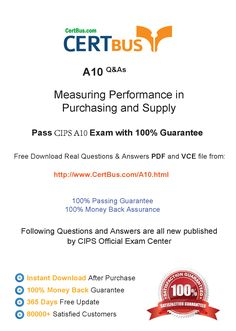 Candidate need to purchase the latest CIPS A10 Dumps with latest CIPS A10 Exam Questions. Here is a suggestion for you: Here you can find the latest CIPS A10 New Questions in their CIPS A10 PDF, CIPS A10 VCE and CIPS A10 braindumps. Their CIPS A10 exam dumps are with the latest CIPS A10 exam question. With CIPS A10 pdf dumps, you will be successful. Highly recommend this CIPS A10 Practice Test.