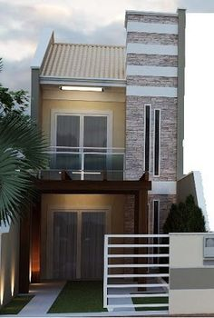 20 Trendy garden house for tools organization ideas Small House Design, Modern House Design, Modern Minimalist House, Modern House Facades, Duplex Design, Two Storey House, Narrow House, Duplex House, New Home Designs