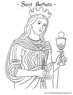 St Barbara Catholic saint coloring page for kids.  Feast day is December 4th.