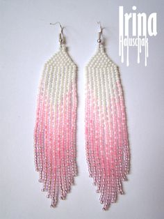 Beautiful beaded modern gradation from white to pink earrings with fringe. Very lightweight. Fusion between ethnic style and modern elements. Original design.  Measurements: Length - 9 cm Width - 2 сm  Materials: Silver plated ear hooks Czech glass beads Nylon Thread Patience and Creativity!:)  .. ready to be given away !  Contact me if you have any questions. I will be happy to answer :)