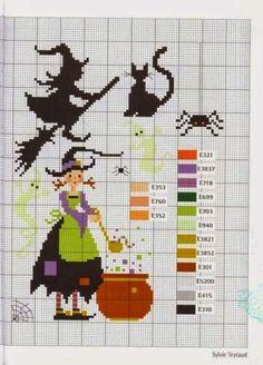 Χειροτεχνήματα: Μάγισσες για κέντημα / Halloween cross stitch patterns