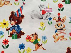 Vintage Gift Wrapping Paper - Juvenile Kid's Birthday - Dennison Forest Animals Party - 1 Unused Full Sheet Birthday Gift Wrap