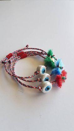 Tassel Bracelet, Beaded Bracelets, Earrings Handmade, Handmade Jewelry, Evil Eye Bracelet, Adjustable Bracelet, I Love Jewelry, Handmade Silver, Sterling Silver Bracelets