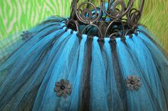 black and blue tutu with black ribbon and black flowers