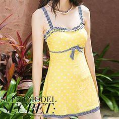 f0e4364820 Buy 'Zeta Swimwear – Striped Trim Dotted Swimdress' with Free International  Shipping at YesStyle