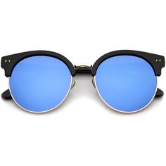 Glamorous round oversized half rimmed sunglasses that feature a round moon cut shaped mirrored lenses and styled with flat lenses for less curvature of the frame. The round moon cut flat lenses with b (Ray Bans) Round Lens Sunglasses, Cute Sunglasses, Oversized Sunglasses, Cat Eye Sunglasses, Mirrored Sunglasses, Sunglasses Women, Vintage Sunglasses, Sunnies, Wayfarer Sunglasses
