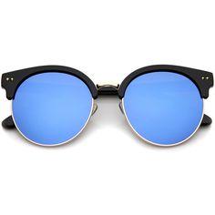 Oversize Women's Half Frame Mirror Lens Sunglasses A406