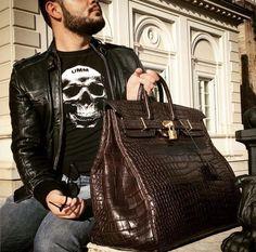 Crocodile bag, alligator bag for men Hermes Men, Hermes Bags, Hermes Handbags, Hermes Birkin, Fashion Bags, Mens Fashion, Fashion Outfits, Fashion Styles, Luxury Bags
