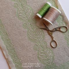 Free motion quilting: Leaves on Linen by Lori Kennedy at The Inbox Jaunt