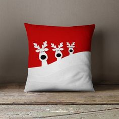 """Christmas Pillow Covers  - """"Santa's Reindeer Family in the Snowy Hills of Lapland"""" Pillow Case"""