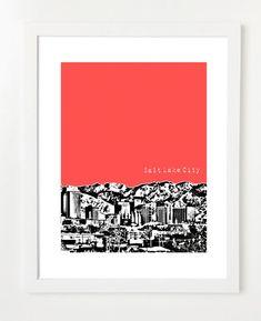 Salt Lake City, Utah Poster City Skyline Art Print - Salt Lake City Wedding Gift - 8x10 on Etsy, $20.00