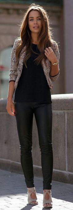 #streetstyle #fashion |Snake On Black | Johanna Olsson                                                                             Source