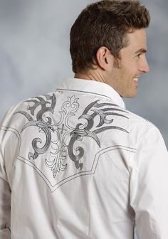 d6dd3175 Men's Long Slv Western Style Shirt * Fancy Stitched Back Yoke * Embroidery  On Front &