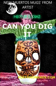 an Ad for my Dia de Muertos Hand thrown ceramic mugs and tumblers.