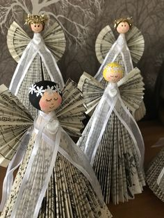 Book angels created by Krafty Kows Old Book Crafts, Book Page Crafts, Newspaper Crafts, Holiday Crafts, Handmade Christmas Decorations, Handmade Christmas Gifts, Xmas Decorations, Diy And Crafts, Crafts For Kids