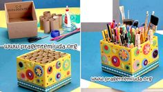 Porta lápis com caixa de papelão e rolo de papel higiênico | Pra Gente Miúda
