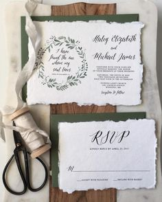 Handmade Cotton Greenery Wedding Invitation