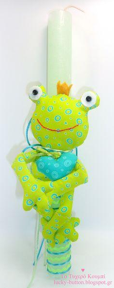 Lovable prince frog, sewing soft toy, Easter candle, Πασχαλινή λαμπάδα 2018 διακοσμημένη με υφασμάτινο βάτραχο
