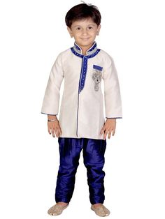This wedding season in this off white color Indowestern set designed with velvet patch collar. Item Code: KDEW109B  http://www.bharatplaza.com/new-arrivals/kids-wear.html