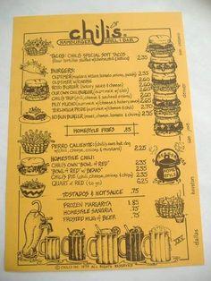 Vintage Chili's Restaurant Menu 1979 by RetroSpecial on Etsy Resturant Menu, Restaurant Names, Vintage Restaurant, Vintage Diner, Vintage Menu, Chilis Menu, Taco Place, Disney Food