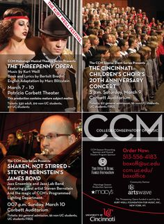 """The critically acclaimed musical THE THREEPENNY OPERA, Saturday's celebration of the CINCINNATI CHILDREN'S CHOIR'S 20th Anniversary and Sunday's """"Shaken, Not Stirred"""" CCM JAZZ concert celebrating the music of the JAMES BOND film franchise... here's just a small glimpse of what's COMING UP at CCM!    Learn more at http://ccm.uc.edu."""
