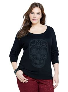 cf291782d13 Skull Graphic Sweater at Amazon Women s Clothing store  Pullover Sweaters. Plus  Size ...