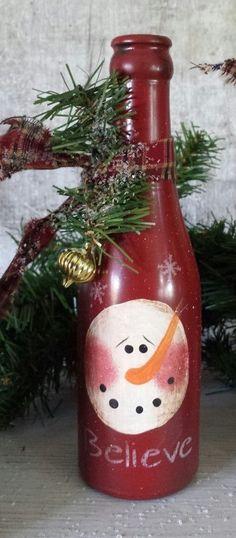 Primitive Snowman Shelf Sitter, Primitive Snowmen, Believe, Frosty, Winter  Decor, Country Primitive, Primitive Christmas, Vintage Bottle