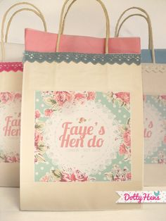 Love: Hen Do Bag Idea. Would maybe use as a Bridesmaid Bag for the night before the wedding. Could fill with chocolate, face masks, confetti and my gift to them. Hen Party Favours, Hen Party Bags, Hen Party Gifts, Wedding Favours, Wedding Gifts, Favors, Hen Night Ideas, Hens Night, Hen Ideas