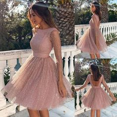 Unique Prom Dresses, Pink Sequin Glitter Sparkly Grenadine Backless Long Sleeve Elegant Bridesmaid Prom Mini Dress, There are long prom gowns and knee-length 2020 prom dresses in this collection that create an elegant and glamorous look Simple Prom Dress, Unique Prom Dresses, Hoco Dresses, Classy Dress, Dresses For Teens, Elegant Dresses, Pretty Dresses, Evening Dresses, Formal Dresses