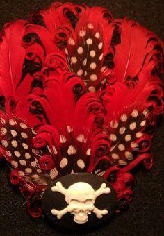 Skull, Day of the dead, Dia de los Muertos, skull , skull cameo, red and black, pirate,red fascinator