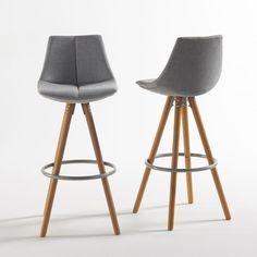 chaise haute de bar blanche trépied en bois style scandinave ... - Chaise De Bar Blanche