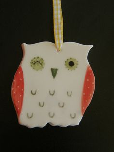Owl Ceramic OrnamentCeramic Owl DecorChristmas by TatjanaCeramics