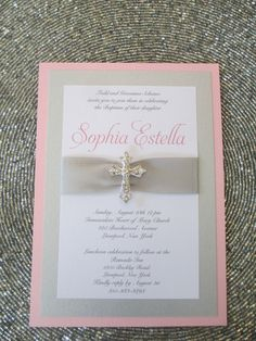 Pink Baptism Invitation with Crystal Cross, Christening, Communion by PurpleandPlatinum on Etsy https://www.etsy.com/listing/197248450/pink-baptism-invitation-with-crystal