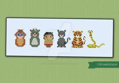 Mini People - TheJungle Book cross stitch pattern by cloudsfactory.deviantart.com on @DeviantArt