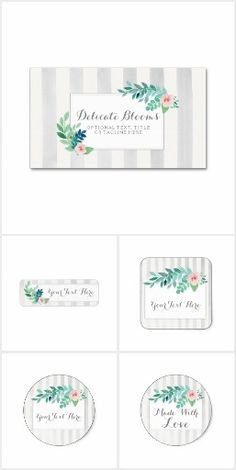 Delicate Blooms on @zazzle #SmallBusiness #Branding #Marketing #Boho #Bohemian #Watercolor #Rustic #Modern #Feminine #Wedding #Business #Graphics #Stickers #Cards #Labels #Pansy #Pansies #Elegant #Chic