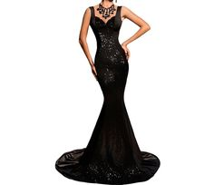YeeATZ Black Sequined Backless Bow Detail Evening Mermaid Dress ** Click image to review more details. (This is an affiliate link) #FormalDress