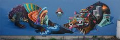 The Mythical Beasts of Painter and Street Artist Curiot street art
