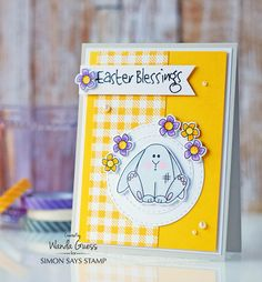 2 Simon Says Stamp Reason To Smile Release. Easter card. Wanda Guess #sssfave