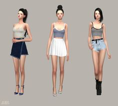 Sims 4 CC's - The Best: Free Sleeveless & Crop Knit Sweater With Shirts…