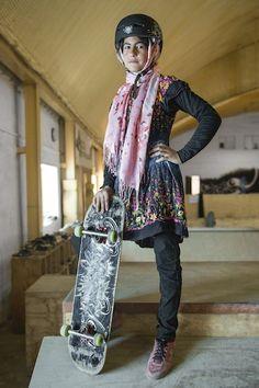 Inspiring Portraits Of The Badass Skate Girls Of Kabul #refinery29  http://www.refinery29.com/skate-girls-kabul#slide-2  Powerful in pink.