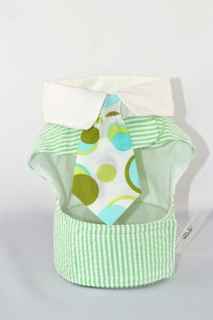 Green Seersucker Dog Vest Harness with White Collar and Print Tie – SpoiledDogDesigns.com - Palm Springs, CA - Designer Dog Clothing