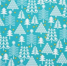 turquoise Michael Miller Christmas fabric Holiday Trees    beautiful Christmas fabric from the USA  $8.38