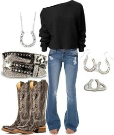 cowgirls country cowboy outfit shirts boats jeans ideas best with Best cowboy boats outfit with jeans country cowgirls shirts ideasYou can find Country outfits and more on our website Country Look, Country Girl Style, Country Fashion, Country Girls, Country Wear, Country Casual, Country Girl Outfits, Cowgirl Outfits, Cowgirl Clothing