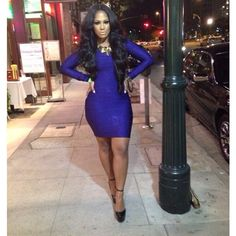 Fitted blue bandage dress http://www.pinterest.com/x0tayy