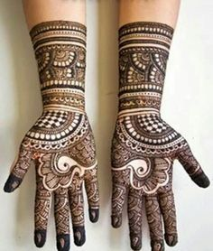Simple Mehendi designs to kick start the ceremonial fun. If complex & elaborate henna patterns are a bit too much for you, then check out these simple Mehendi designs. Mehandi Designs, Full Hand Mehndi Designs, Mehndi Design Pictures, Arabic Mehndi Designs, Simple Mehndi Designs, Bridal Mehndi Designs, Henna Tattoo Designs, Mehndi Images, Bridal Henna